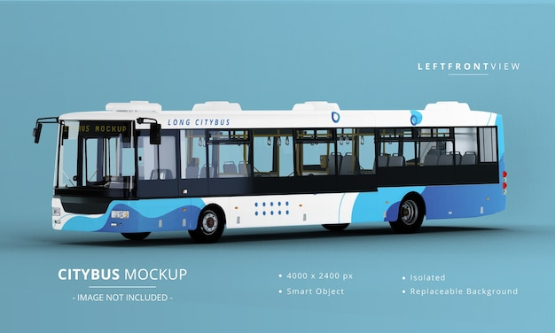 Long City Bus Mockup 왼쪽 전면보기 프리미엄 PSD 파일