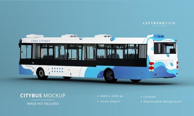 Long City Bus Mockup 왼쪽 후면보기 프리미엄 PSD 파일