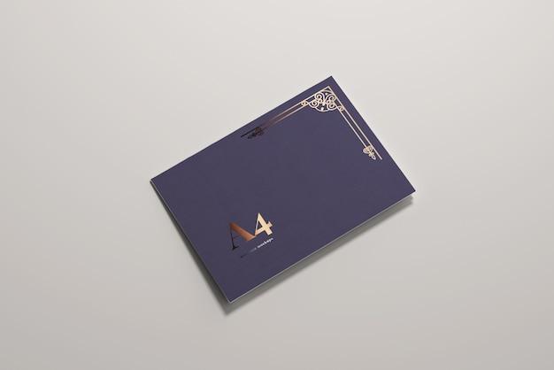 長辺折りa4二つ折り水平モックアップ Premium Psd