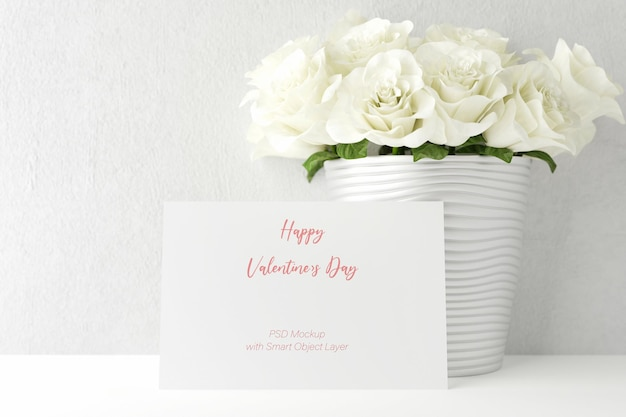 Любовь и день святого валентина с макетом фоторамки Premium Psd