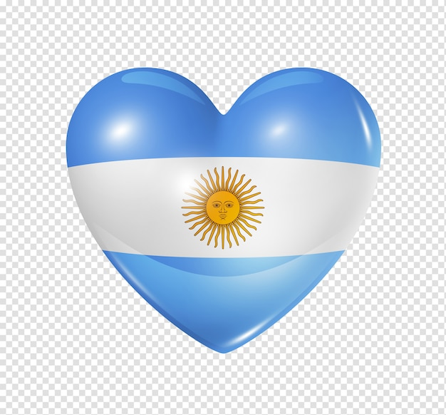 Love argentina, heart flag icon Premium Psd