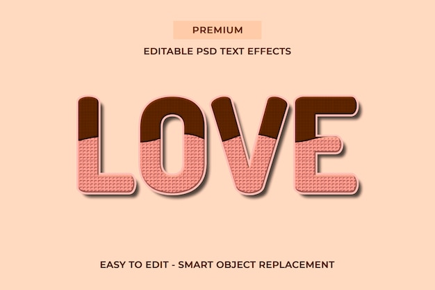 Love - delicious chocolate cookies text effects psd templates Premium Psd