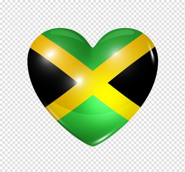 Love jamaica, heart flag icon Premium Psd
