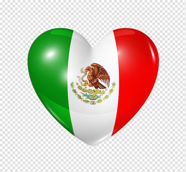 Love mexico, heart flag icon Premium Psd
