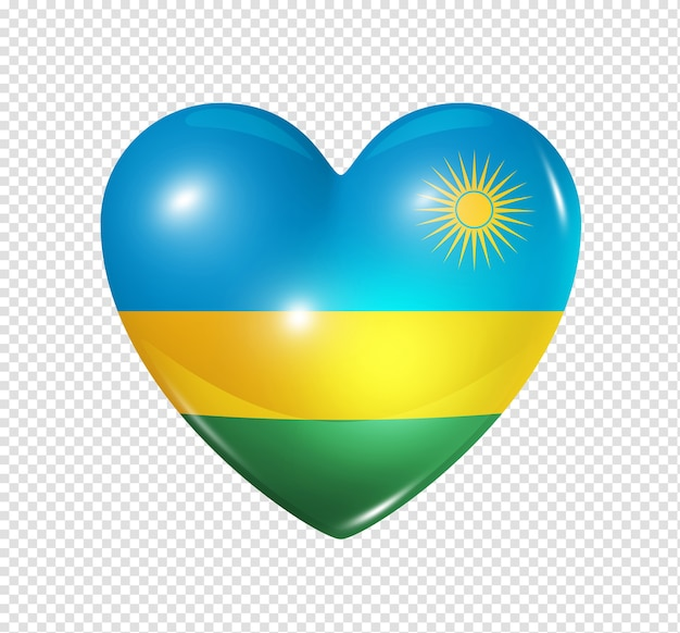 Love rwanda symbol 3d heart flag icon isolated on white with clipping path Premium Psd