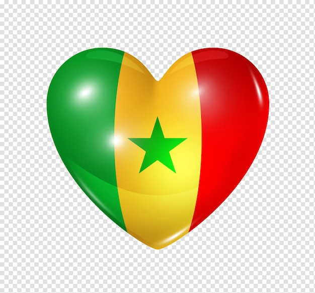Love senegal symbol 3d heart flag icon isolated on white with clipping path Premium Psd