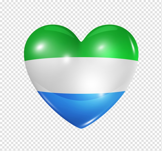 Love sierra leone symbol 3d heart flag icon isolated on white with clipping path Premium Psd