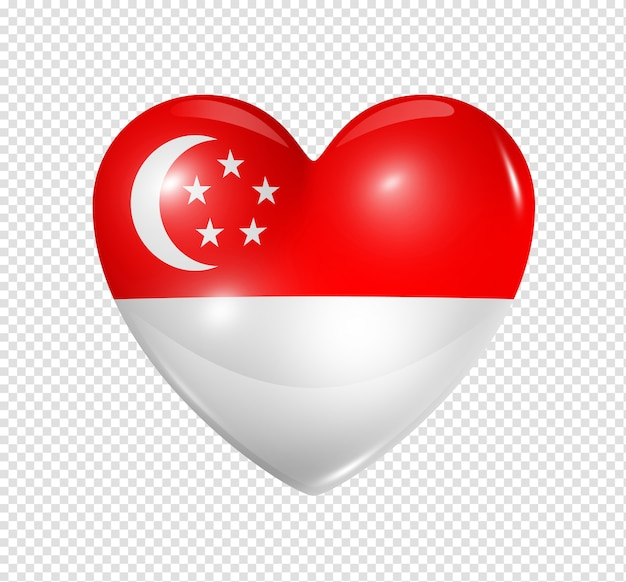 Love singapore symbol 3d heart flag icon isolated on white with clipping path Premium Psd
