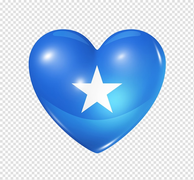 Love somalia symbol 3d heart flag icon isolated on white with clipping path Premium Psd