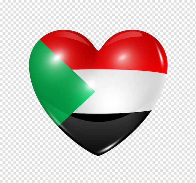 Love sudan symbol 3d heart flag icon isolated on white with clipping path Premium Psd
