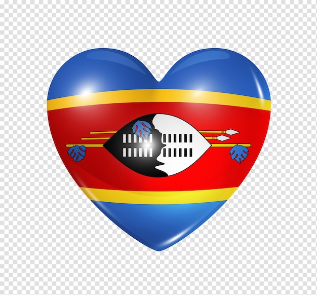 Love swaziland symbol 3d heart flag icon isolated on white with clipping path Premium Psd