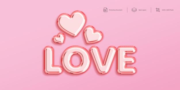 Шаблон оформления с эффектом текста любви Premium Psd