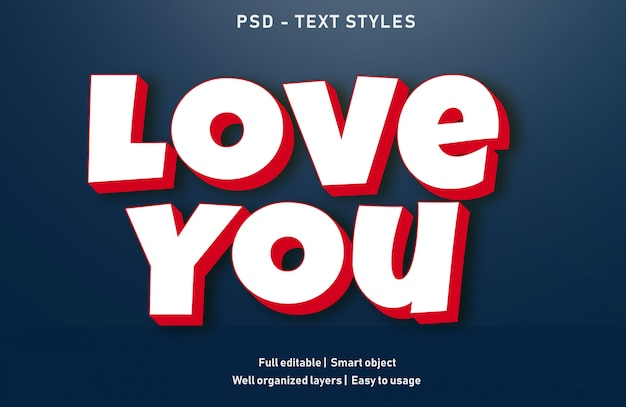 Love text effects style editable psd Premium Psd