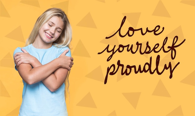 Love yourself proudly cute young girl Free Psd