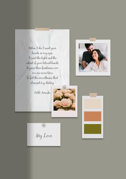 Lovely couple moodboard template Free Psd