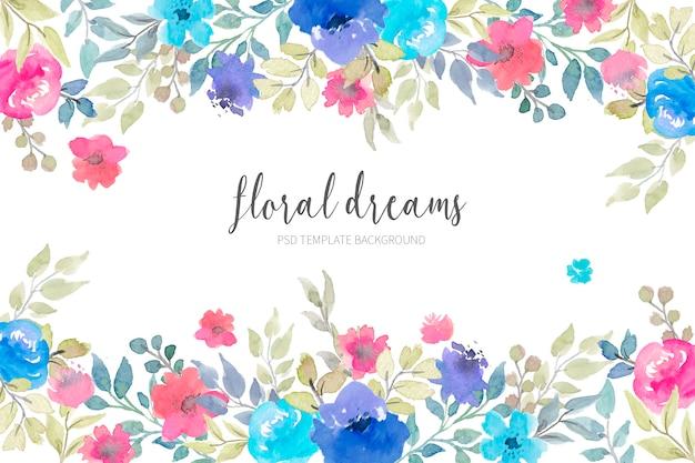 수채화 꽃과 사랑스러운 꽃 배경 무료 PSD 파일