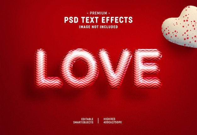 Lovely valentine balloon text effect template Premium Psd