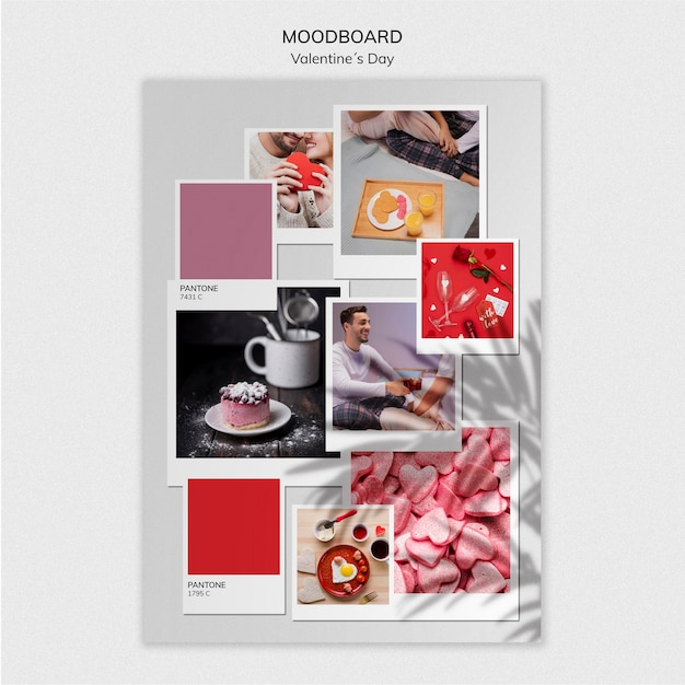 Lovely valentine's day moodboard template Free Psd