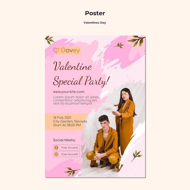 写真付きの素敵なバレンタインデーのポスターテンプレート 無料 Psd
