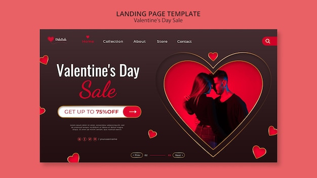 Lovely valentine's day web template Free Psd