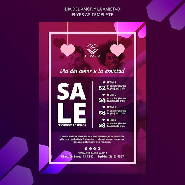 Шаблон канцелярских принадлежностей для влюбленных и продаж Бесплатные Psd