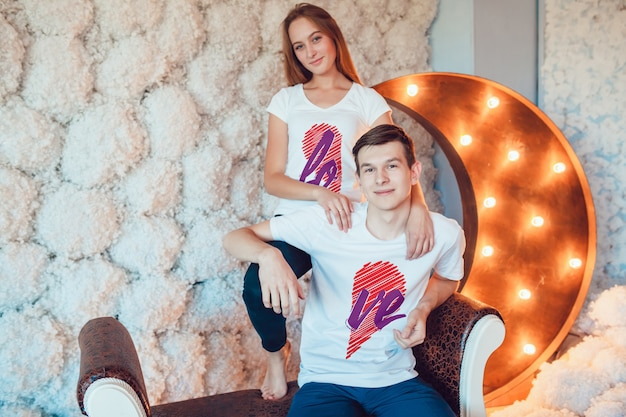 Lovers t-shirt mockup Premium Psd