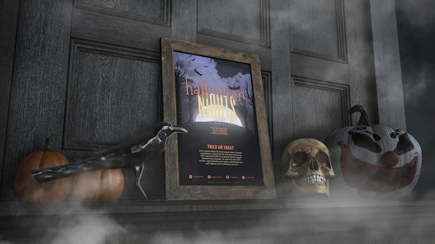 Low view halloween nights frame with with skull and pumpkin Free Psd