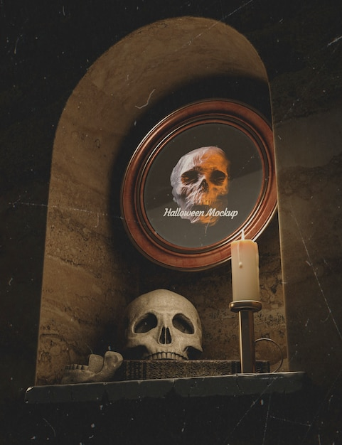Low view halloween round frame with skull in a wall Free Psd