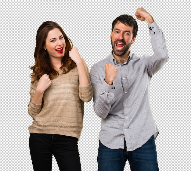 Lucky young couple Premium Psd