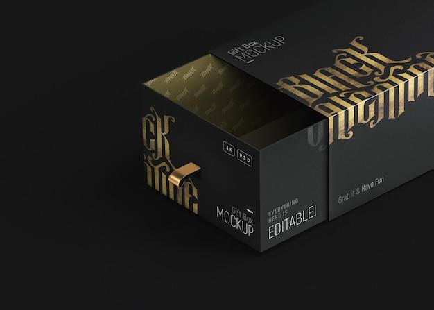 豪華な黒と金色のギフトボックスのモックアップ 無料 Psd