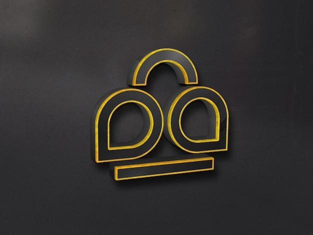 Роскошный 3d стеклянный макет логотипа на стене с золотым контуром Premium Psd
