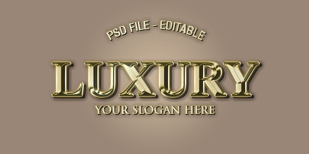 Luxury 3d text effect style in gold Premium Psd