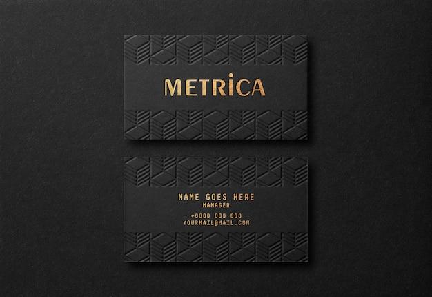 Роскошный черный макет визитки с эффектом gold letterpress Premium Psd