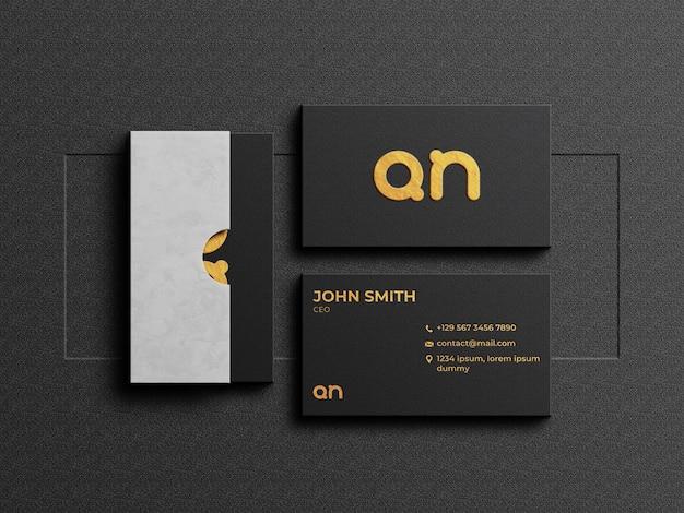 Роскошный макет визитной карточки с картонной коробкой Premium Psd
