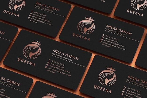 Роскошный макет визитки с эффектом печати логотипа из розового золота Premium Psd