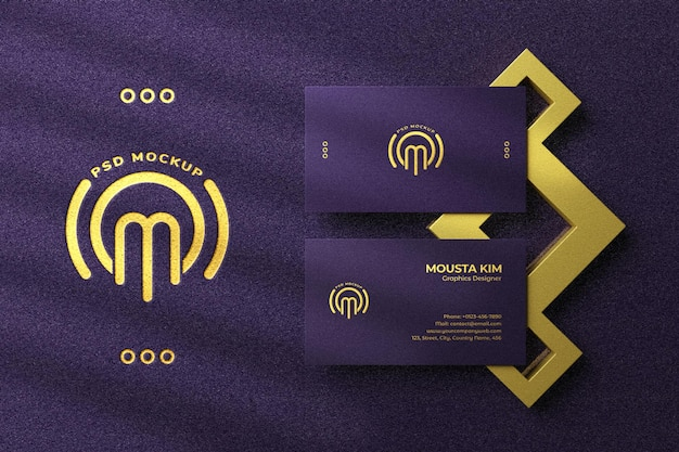 Luxury business card with golden foil logo mockup Premium Psd