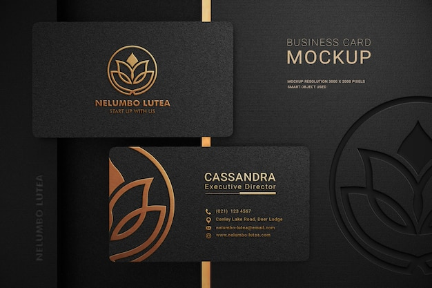 Luxury dark business card logo mockup with embossed and debossed effect Premium Psd