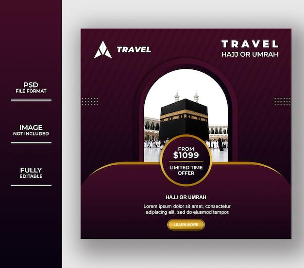 Luxury eid mubarak umrah and hajj tour and travel Premium Psd