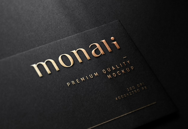 Luxury embossed logo mockup on black business card Premium Psd