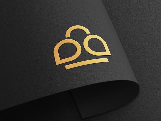 Роскошный мокап с тисненым логотипом на изогнутой бумаге Premium Psd