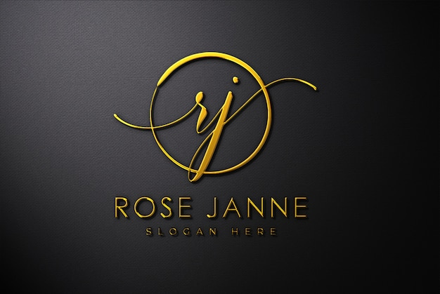 Luxury gold 3d logo mockup Premium Psd