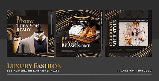 Modello di post di feed di social media di lusso oro moda Psd Gratuite