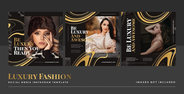 Luxury gold fashion social media feed post template Free Psd