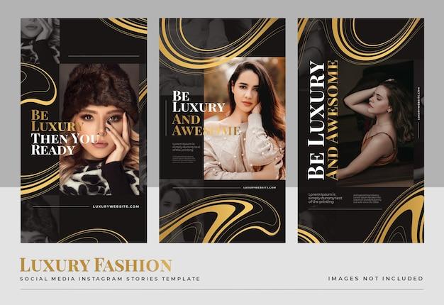 Modello di storie di social media di moda oro di lusso Psd Gratuite
