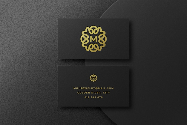 Luxury gold logo mockup in business card Premium Psd
