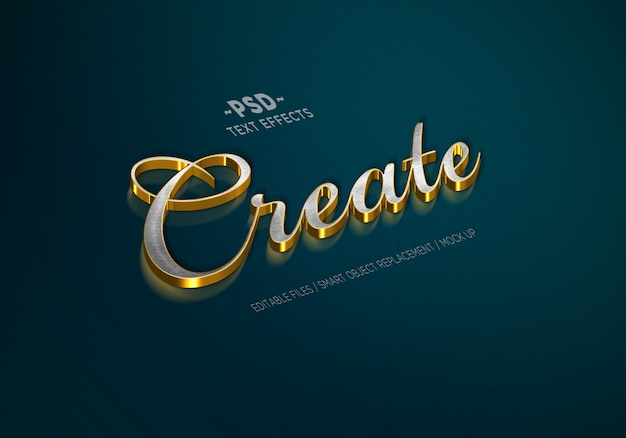 Luxury gold silver style editable text effects Premium Psd
