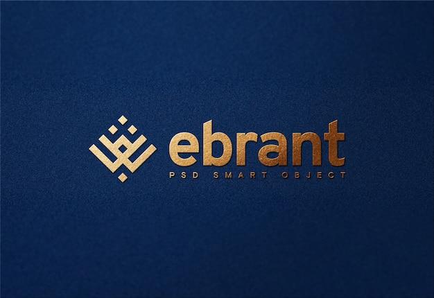 Luxury golden logo mockup on blue paper Premium Psd