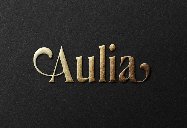 Роскошный золотой логотип макет на черной бумаге Premium Psd