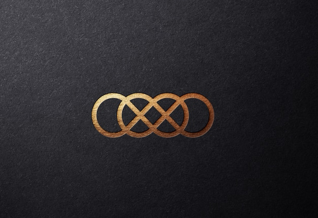Luxury golden logo mockup on plain embossed surface Premium Psd