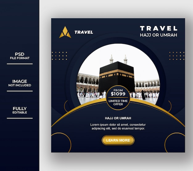 Luxury islamic umrah and hajj social media post template design Premium Psd